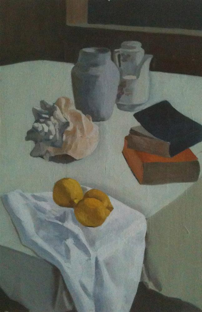 """Still Life with Lemons and Shell"" original fine art by Megan Schembre"