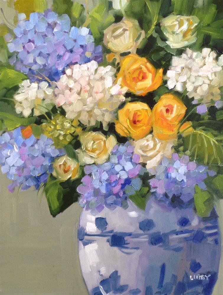 """Village Blooms"" original fine art by Libby Anderson"