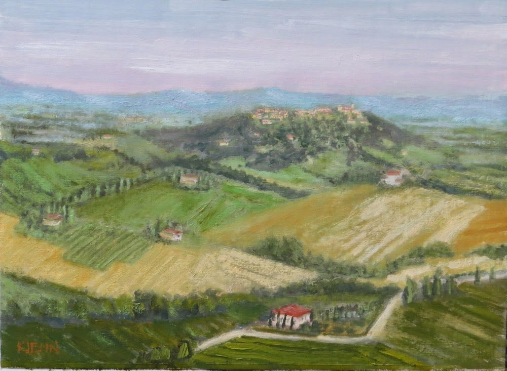 """View of Montefollonico"" original fine art by Richard Kiehn"