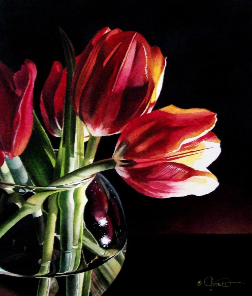 """Still Life with Tulips"" original fine art by Jacqueline Gnott, TWSA, WHS"