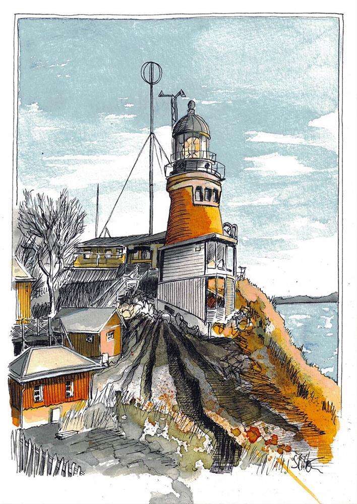 """3448 Lighthouse Orange-Blue"" original fine art by Dietmar Stiller"