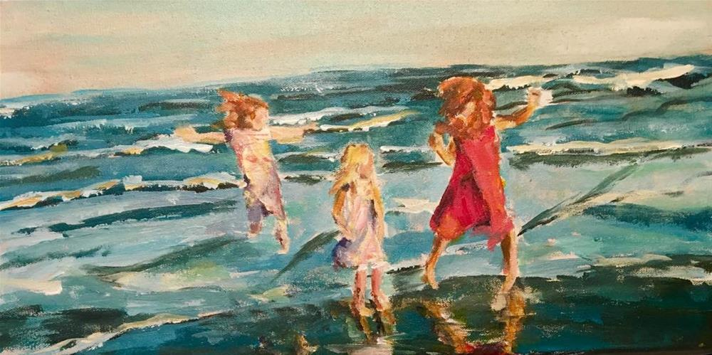 """Cousining by the Sea"" original fine art by Susan Elizabeth Jones"