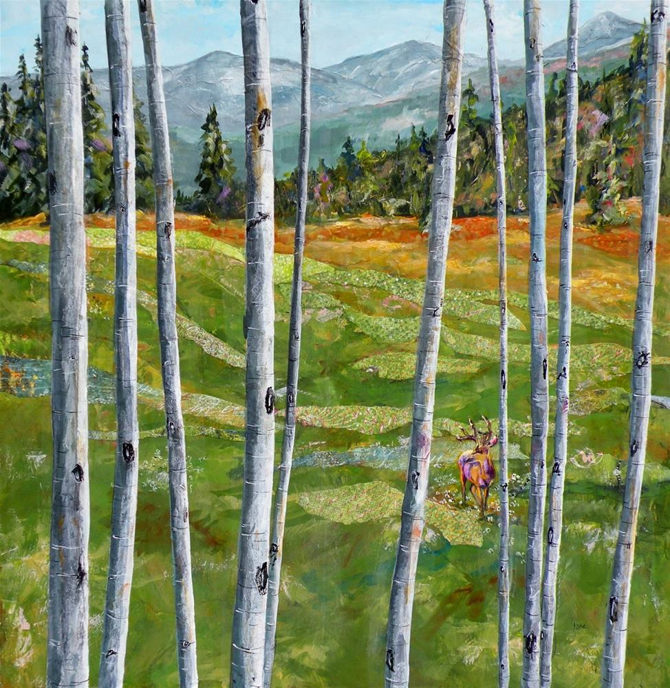 """MOUNTAIN MEADOW THROUGH ASPEN EYES © SAUNDRA LANE GALLOWAY"" original fine art by Saundra Lane Galloway"