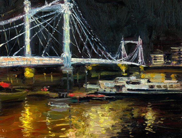 """Enchanting Nocturne Reflections, Albert Bridge (13) Chelsea Marathon"" original fine art by Adebanji Alade"