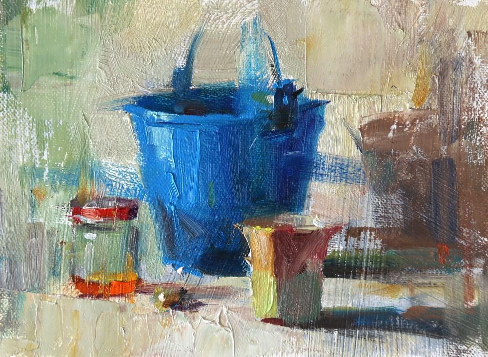 """Blue Bucket"" original fine art by Qiang Huang"