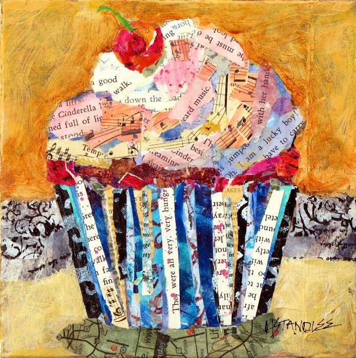 """Cupcake Collage, 12082 Oh, I am a lucky boy! SOLD"" original fine art by Nancy Standlee"
