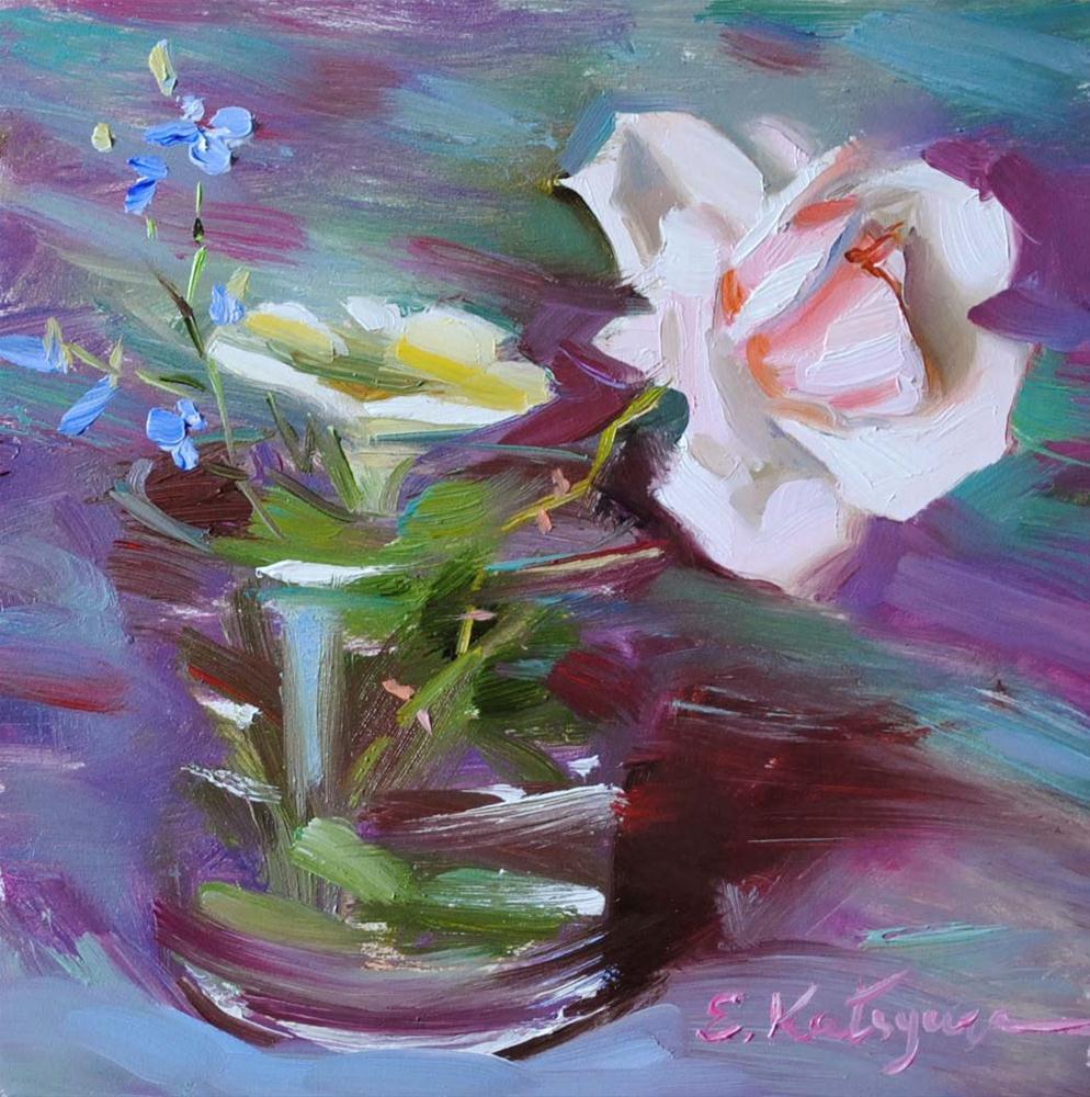 """""""Wild Rose"""" original fine art by Elena Katsyura"""