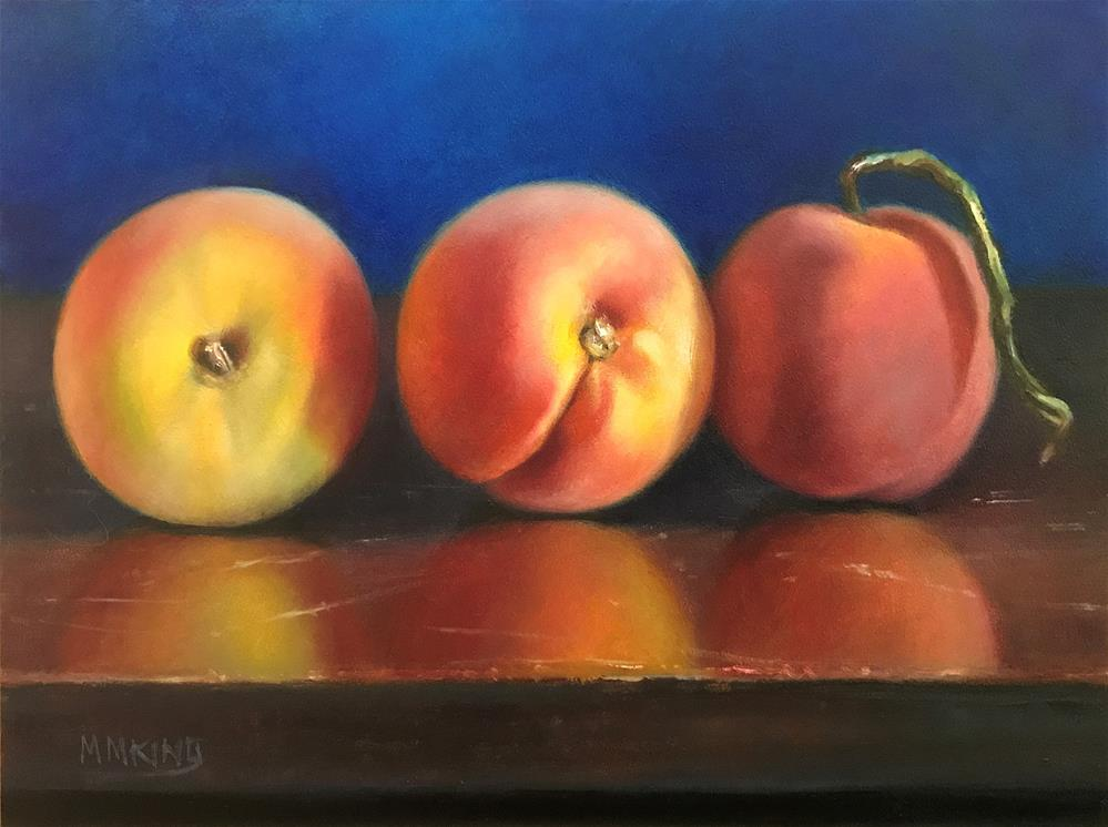 """Three Peaches on Parade"" original fine art by Marilyn M King"