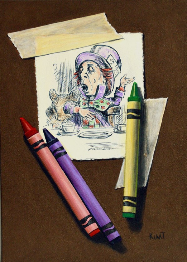 """""""Mad Hatter with Crayons"""" original fine art by Kim Testone"""