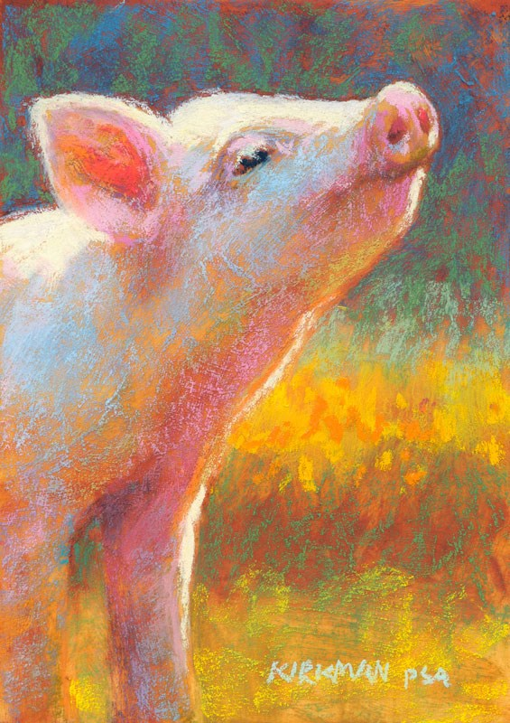 """Little Piggy Pink"" original fine art by Rita Kirkman"