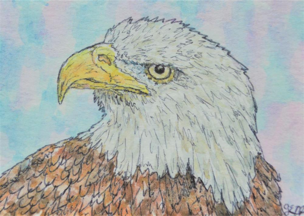 """Eagle Watercolor Aceo"" original fine art by Gloria Ester"