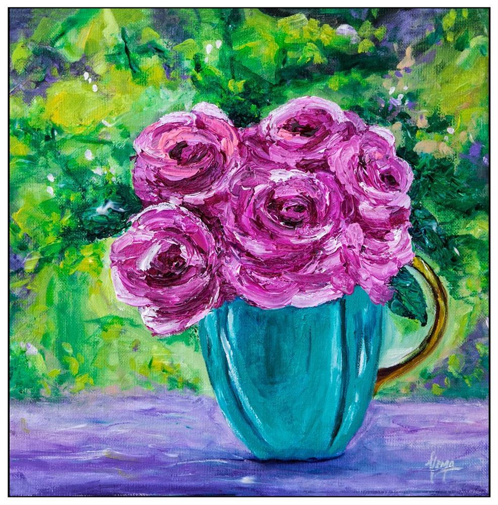 """Turquoise vase and cottage roses"" original fine art by Hema Sukumar"