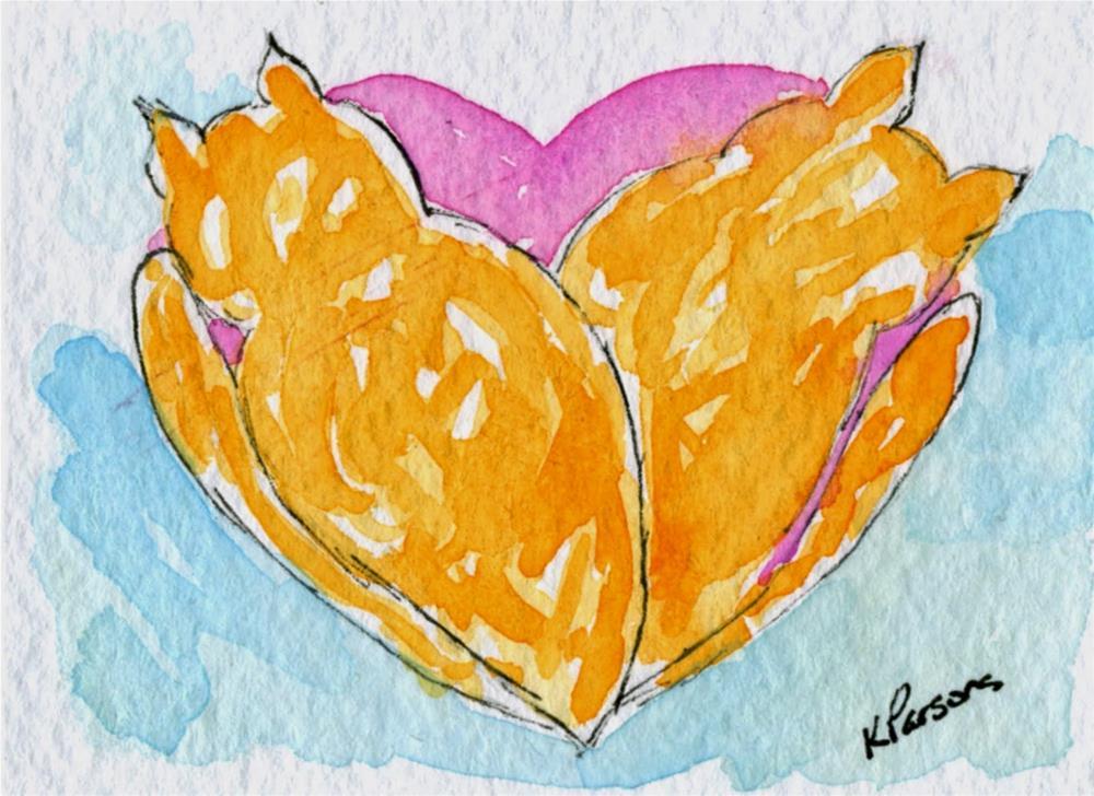 """""""Cat Nap Love"""" original fine art by Kali Parsons"""