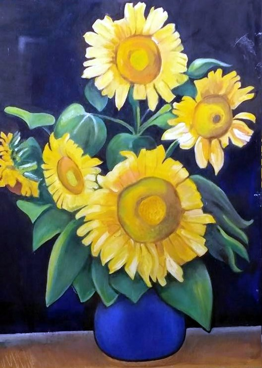 """""""Homage to Van Gogh, Sunflowers"""" original fine art by Selby Minner"""