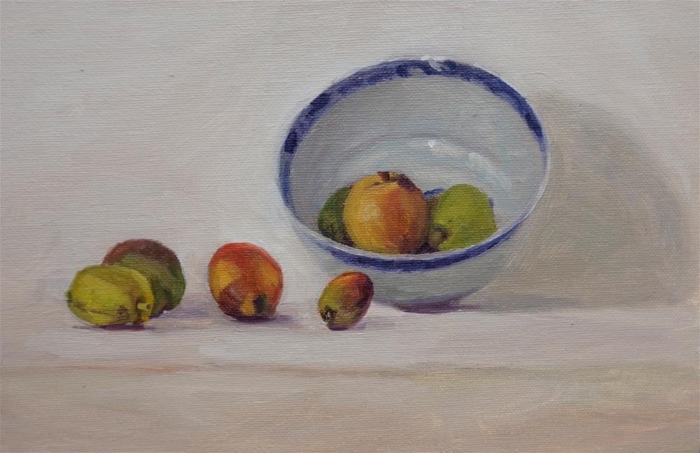 """""""Fruit and bowl"""" original fine art by Jeroen van der Velden"""