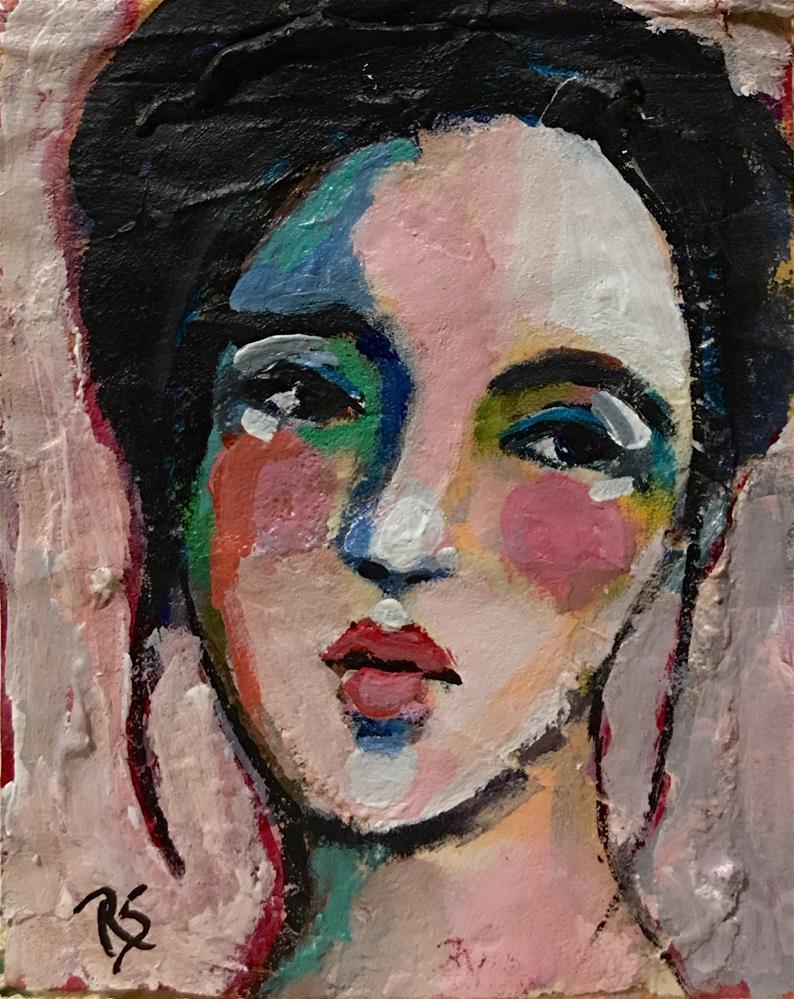 """Tea Bag Portrait - Bella"" original fine art by Roberta Schmidt"
