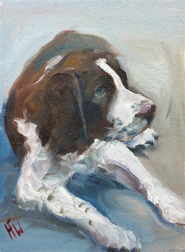 """Springer Pup"" original fine art by H.F. Wallen"