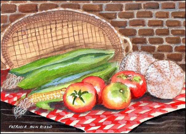 """Corn, Tomatoes and Cantelopes"" original fine art by Patricia Ann Rizzo"
