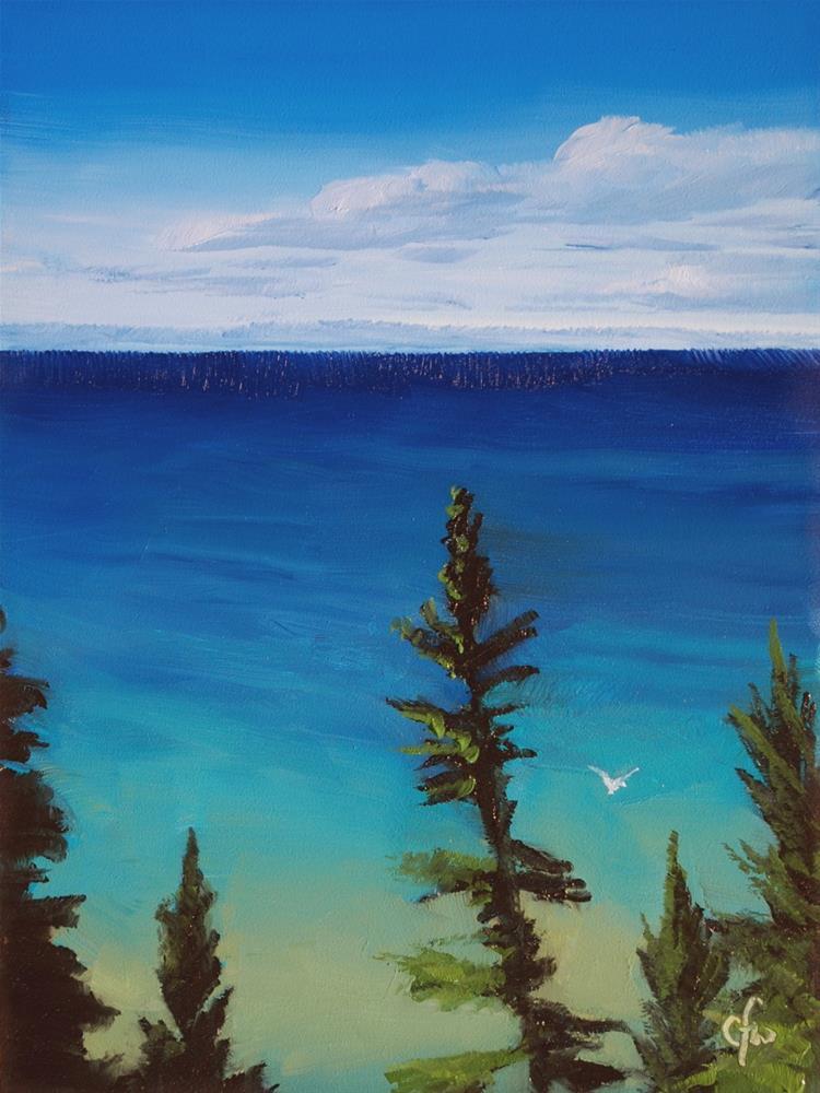 """Lake Michigan from the Cliff"" original fine art by Gary Westlake"