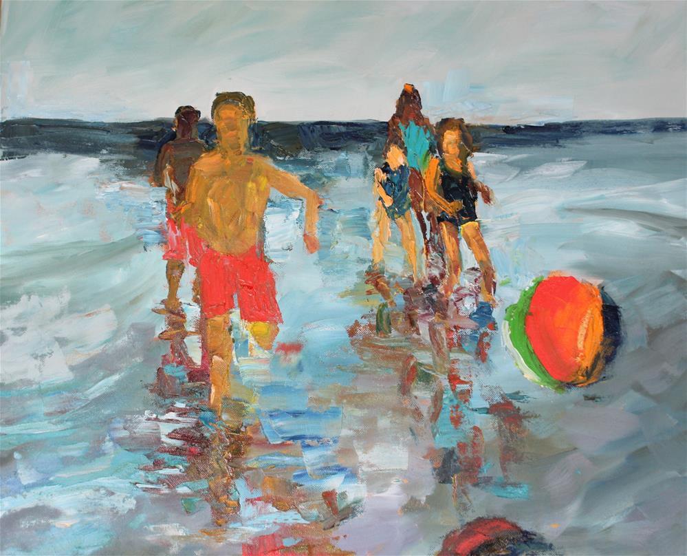 """Seascape Figures with Ball"" original fine art by Christine Parker"