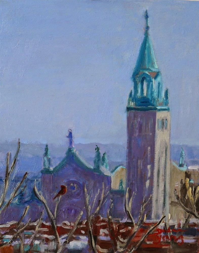 """806 Montreal Skyline with Cardinal"" original fine art by Darlene Young"