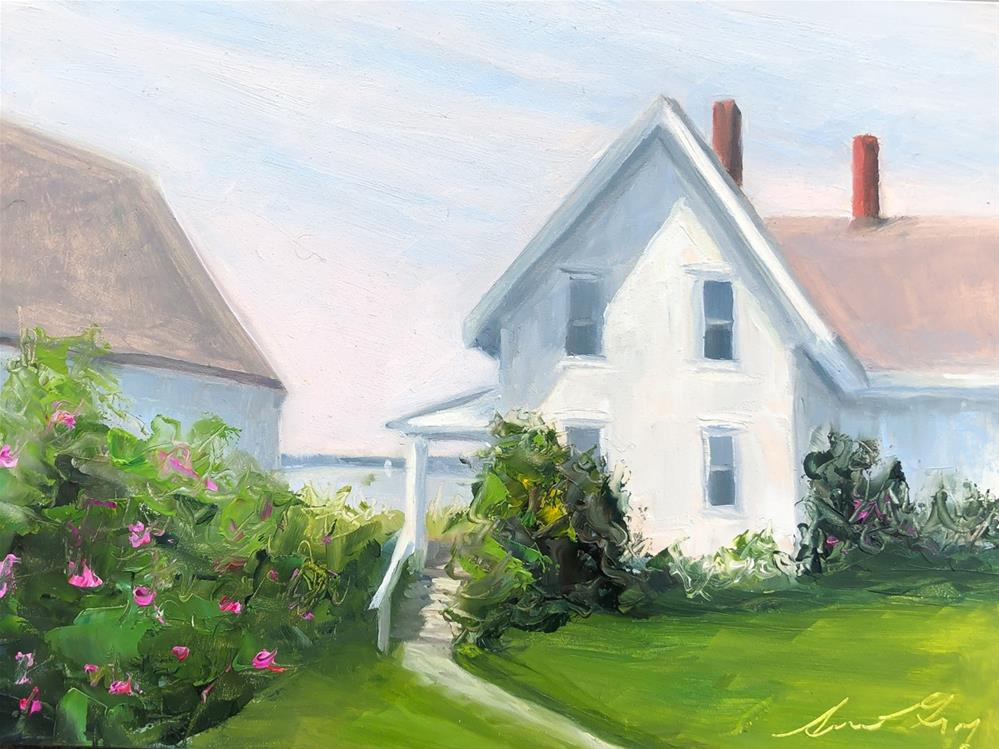 """#223 - Lightkeepers House & Rosa Rugosa"" original fine art by Sara Gray"