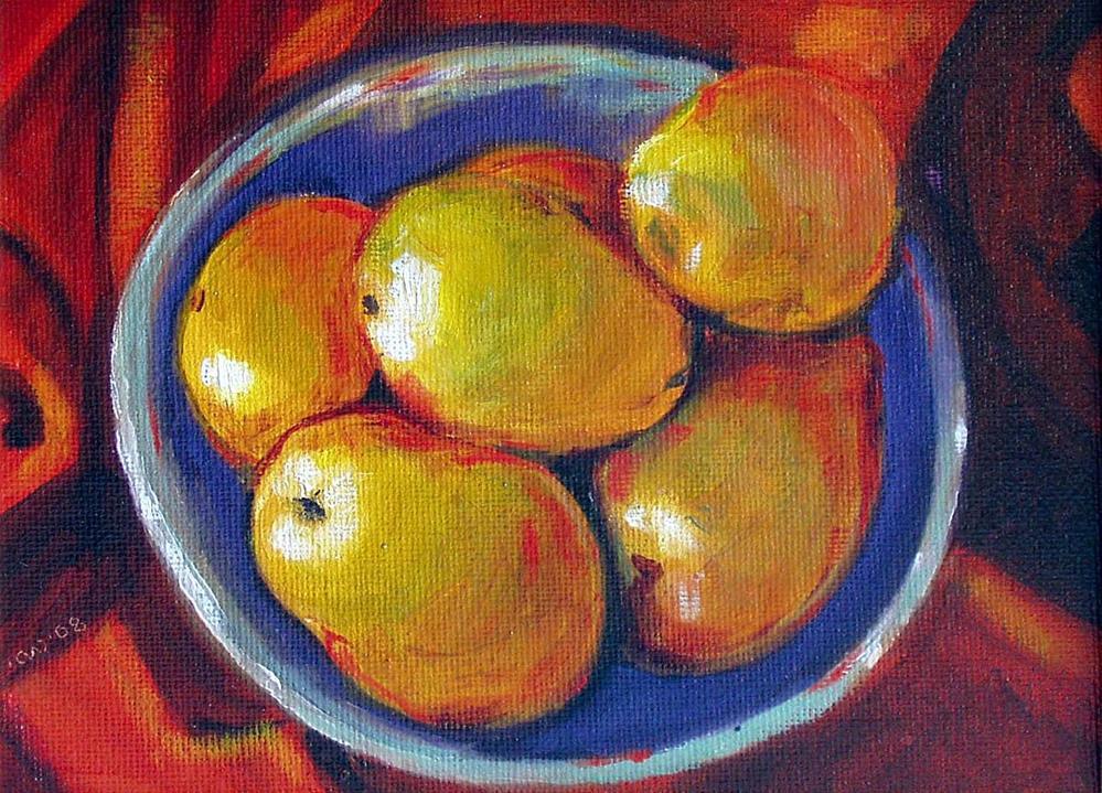 """Pears In Blue Bowl"" original fine art by Cietha Wilson"