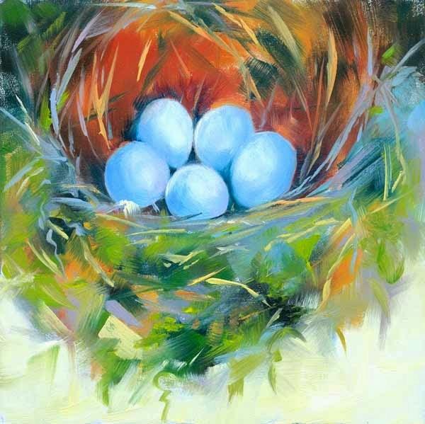 """Five Phoebes"" original fine art by Brenda Ferguson"