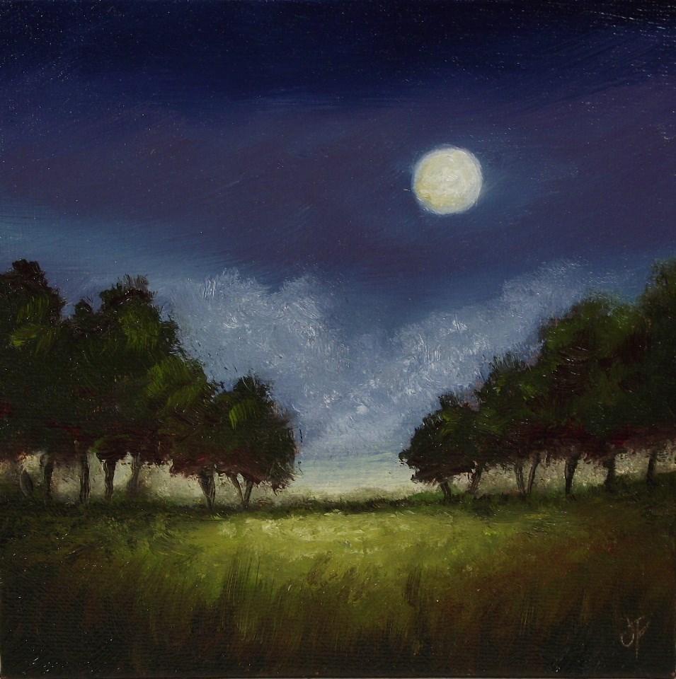 """""""Moonlit field"""" original fine art by Jane Palmer"""