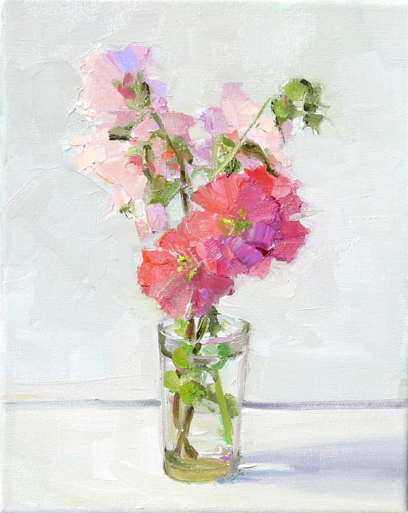 """More Hollyhocks,still life,oil on canvas,10x8,price$300"" original fine art by Joy Olney"