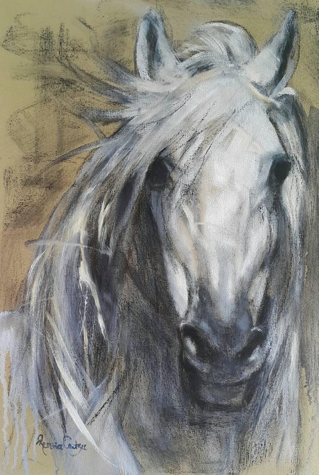 """""""Haunted horse"""" original fine art by Rentia Coetzee"""