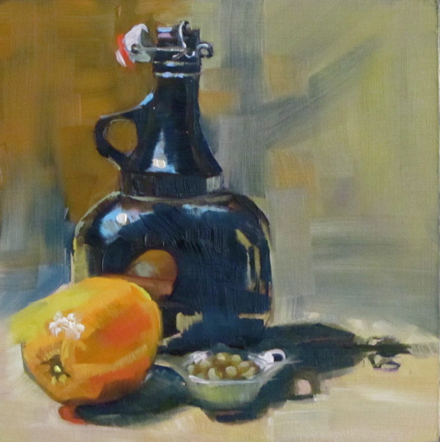 """Growler and Nuts"" original fine art by Christine Holzschuh"
