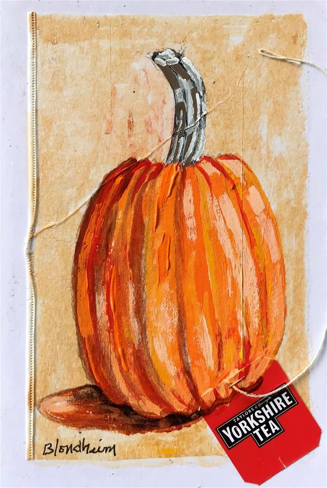 """Tea Bag Painting Pumpkin"" original fine art by Linda Blondheim"