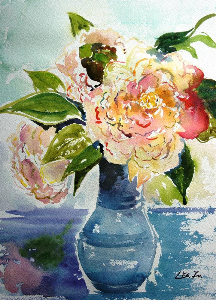 """Pink flowers in a blue vase"" original fine art by Lisa Fu"