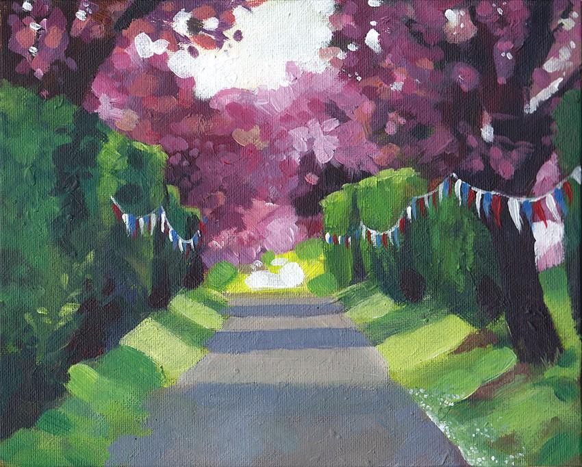 """Outside the Church, Kimpton"" original fine art by J M Needham"