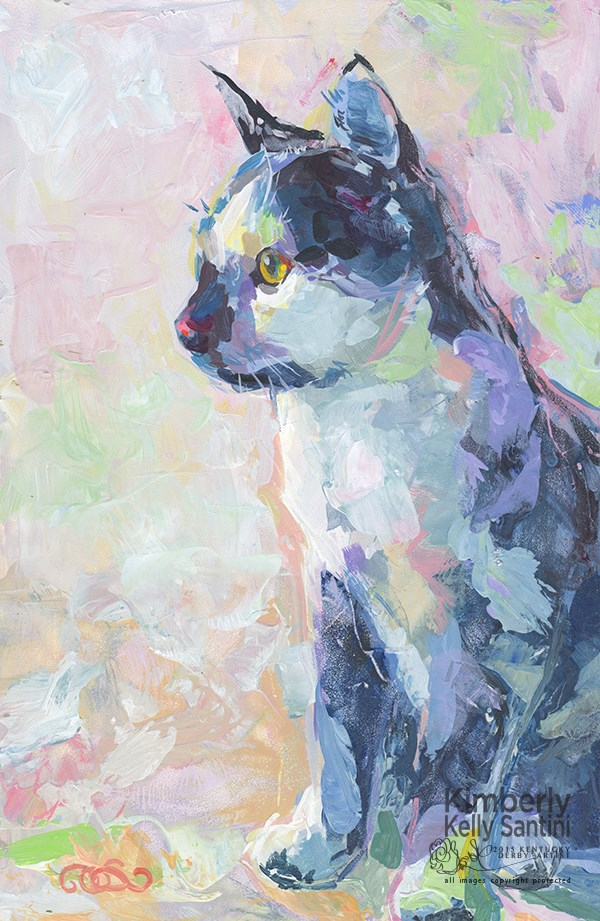 """""""Domino, Our Next pARTy Guest"""" original fine art by Kimberly Santini"""