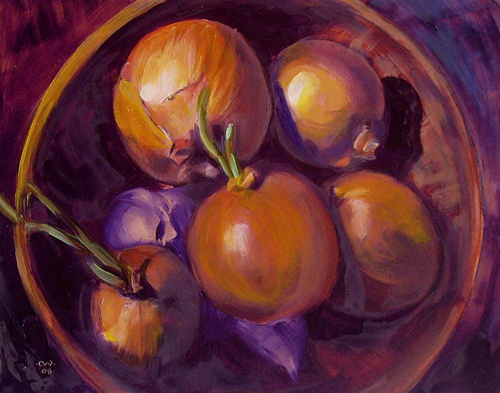 """Basket of Onions"" original fine art by Cietha Wilson"