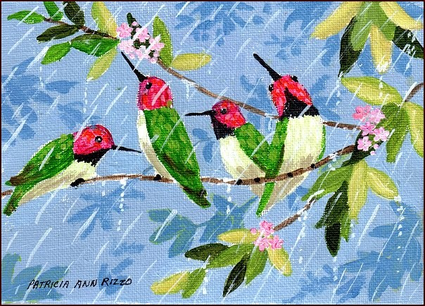 """Hummingbirds in the Rain"" original fine art by Patricia Ann Rizzo"