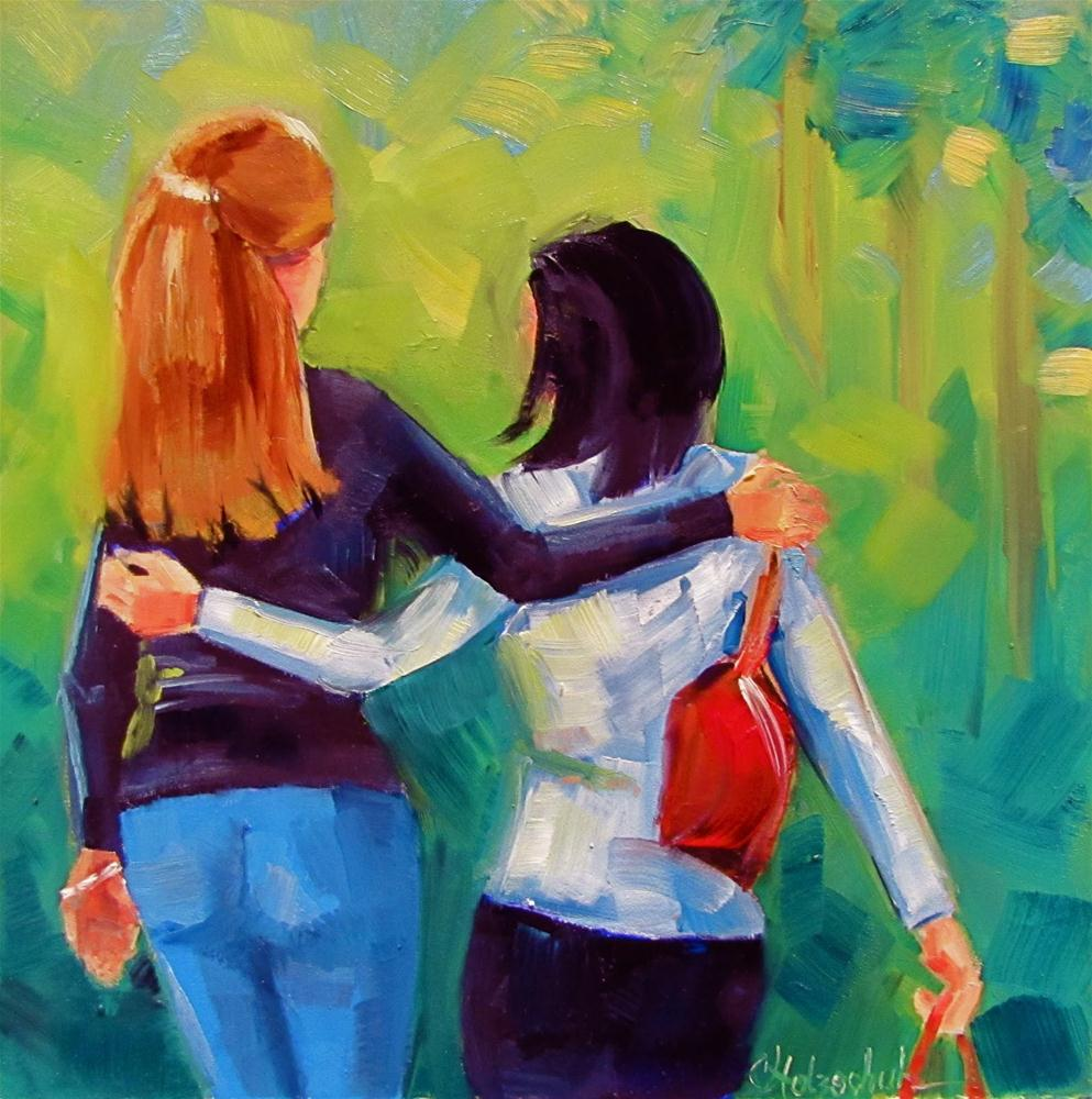 """Forever Friends  8x8  oil"" original fine art by Christine Holzschuh"