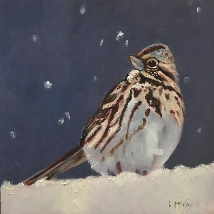 """Chocolate Chirp, Song Sparrow"" original fine art by Linda McCoy"