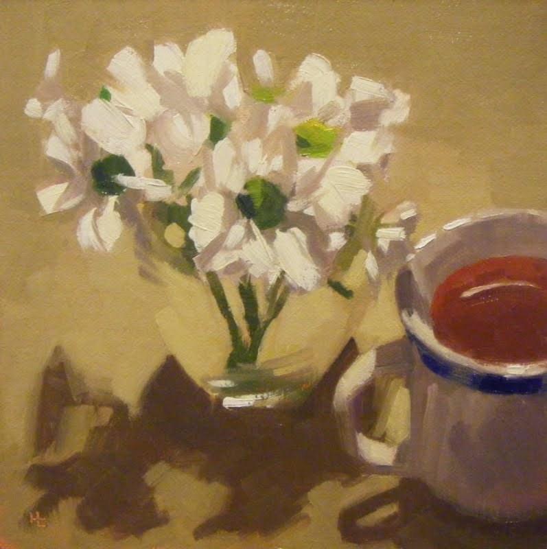 """TEA 'N DAISIES"" original fine art by Helen Cooper"