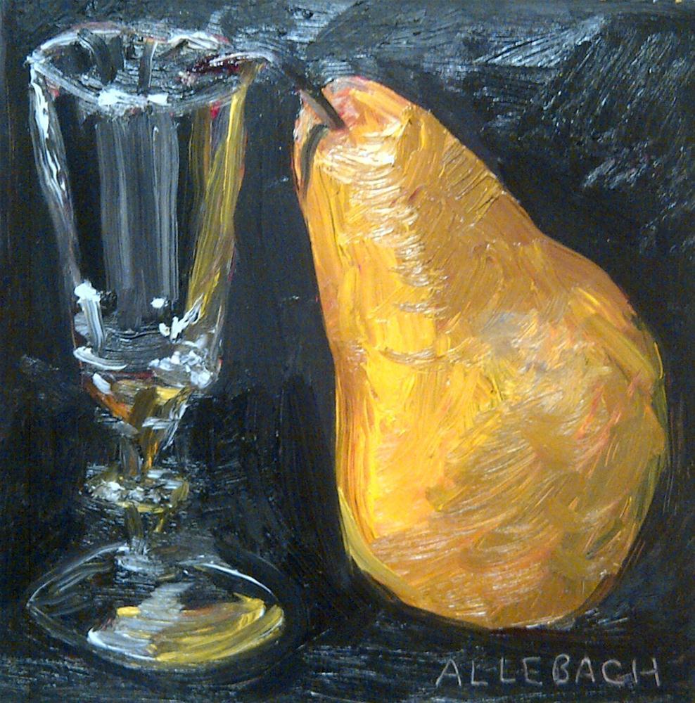 """pear and pony glass"" original fine art by Jo Allebach"