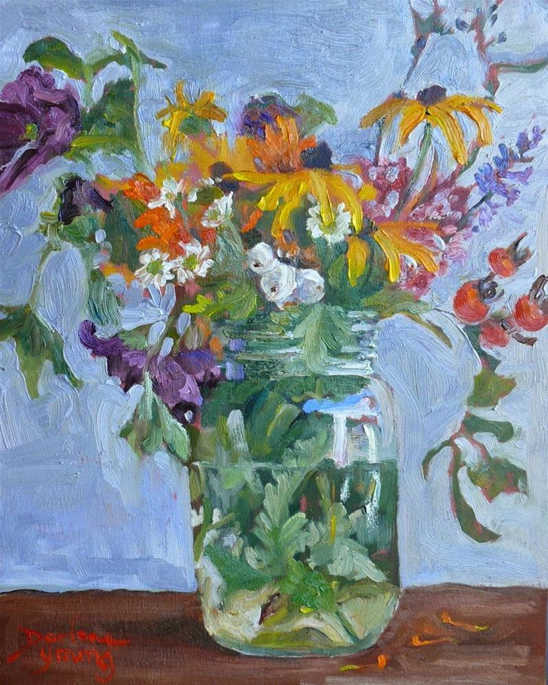 """771 Autumn Bouquet in a Mason Jar"" original fine art by Darlene Young"