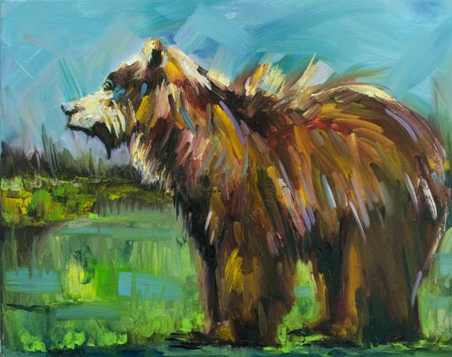 """ARTOUTWEST DIANE WHITEHEAD BEAR WILDLIFE ART OIL PAINTING ORIGINAL"" original fine art by Diane Whitehead"