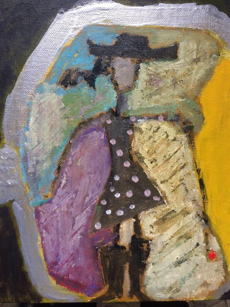 """A Yoklahomacowboygirl in your rear view mirror....may"" original fine art by pamela kish"