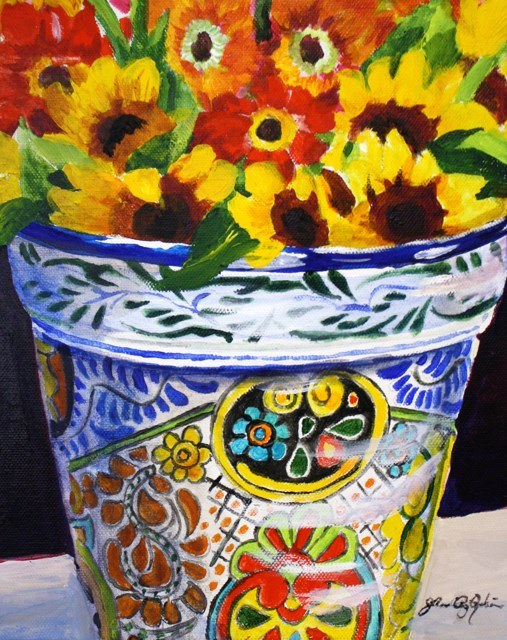 """""""Mexican Pottery with Sunflowers"""" original fine art by JoAnne Perez Robinson"""