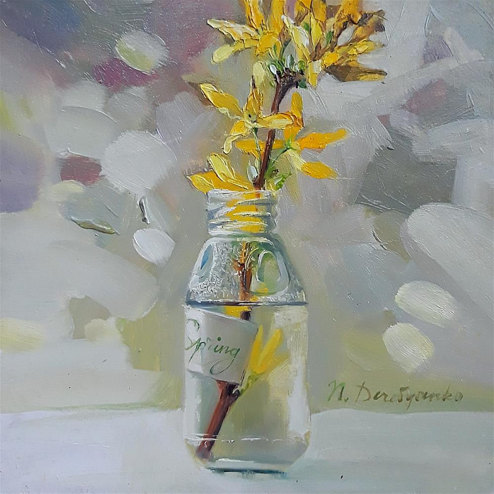 """Forsythia"" original fine art by Natali Derevyanko"