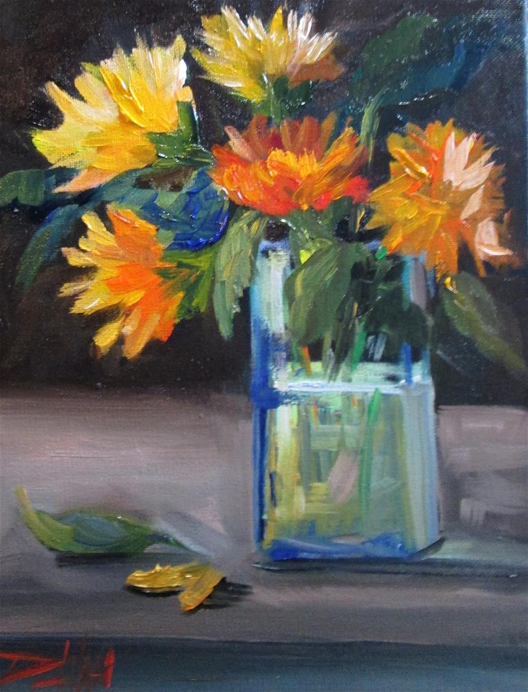 """Yellow and Orange Floral Still Life"" original fine art by Delilah Smith"