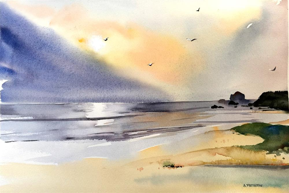 """""""Golden Dawn at Narooma Beach"""" original fine art by Shirley Peters"""