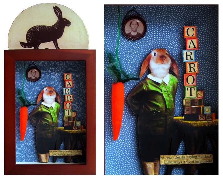 """RABBIT carrots assemblage mixed media collage shadow box original art"" original fine art by Linda Apple"
